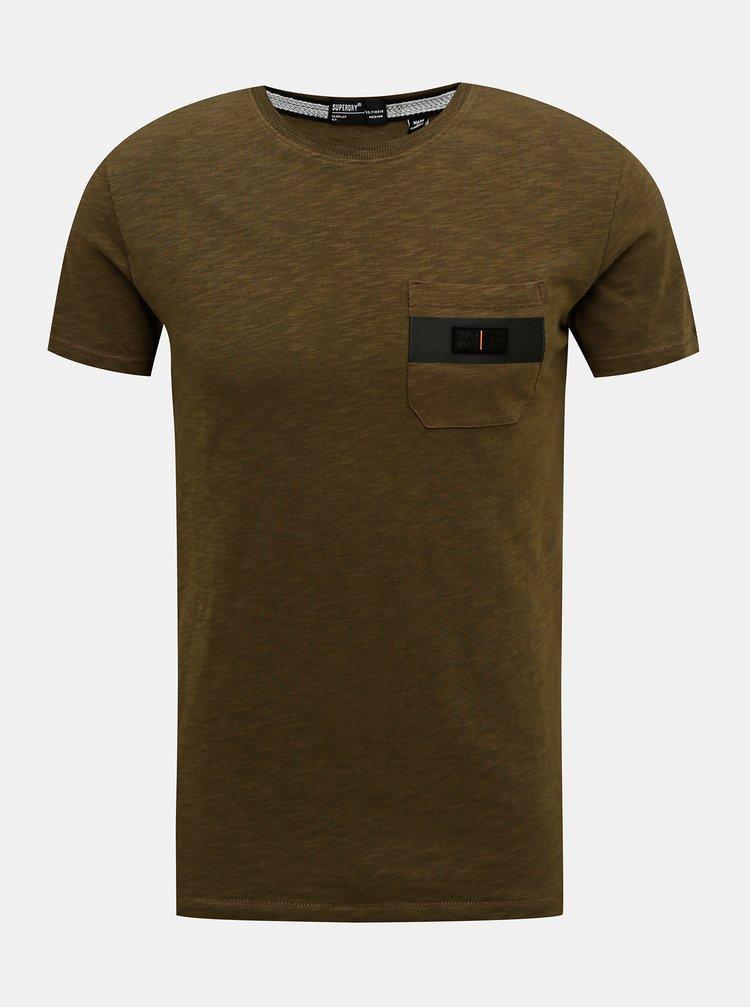 Khaki pánské tričko Superdry
