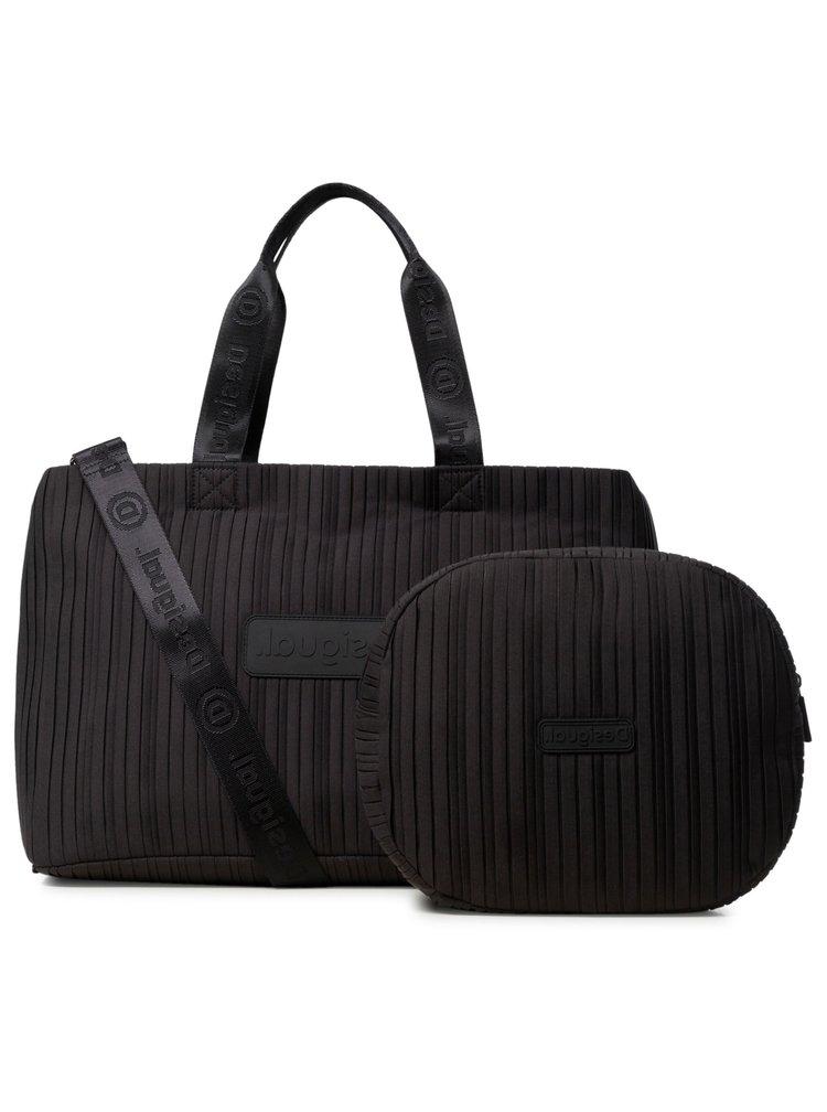 Desigual černá sportovní taška Duffle Bag Pleats Black