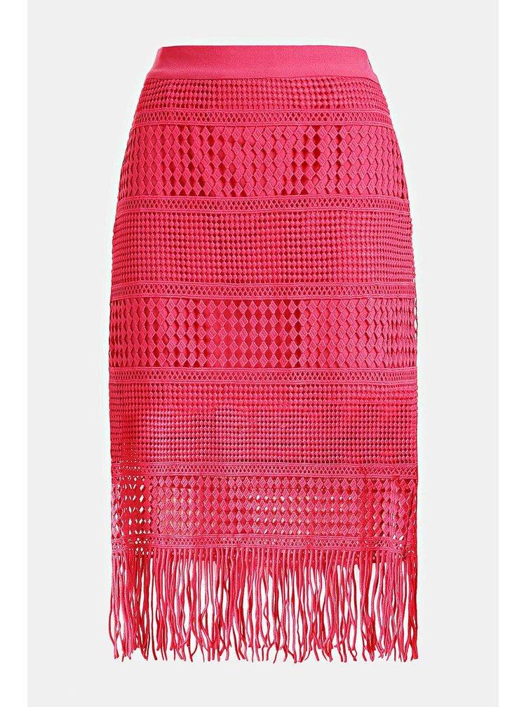 Guess růžová sukně s třásněmi