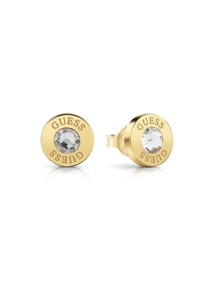 Guess zlaté náušnice Shiny Crystals s kamínkem
