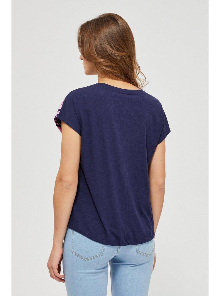 Moodo tmavě modré tričko s vázáním