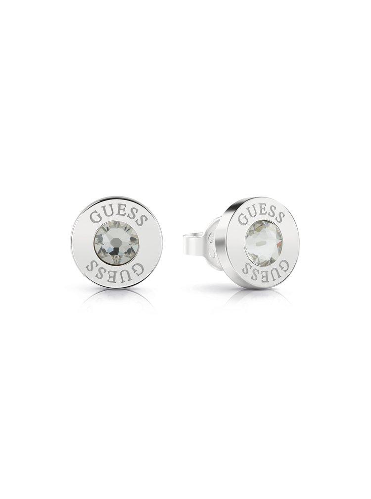 Guess stříbrné náušnice Shiny Crystals s kamínkem