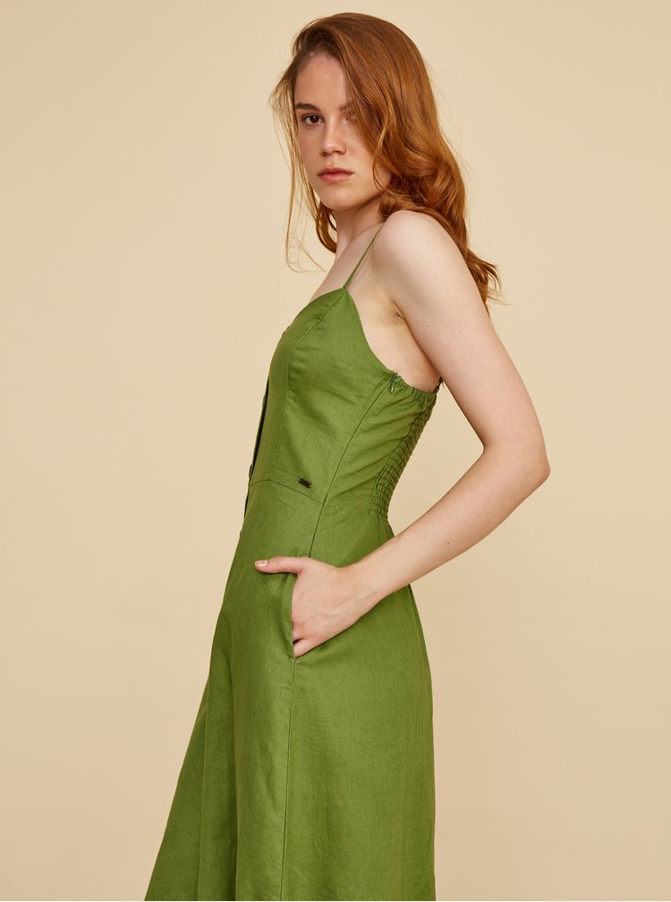 Zelené lněné midišaty ZOOT Anastacia