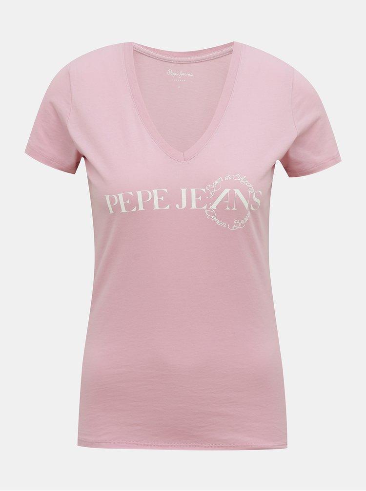 Ružové dámske tričko Pepe Jeans