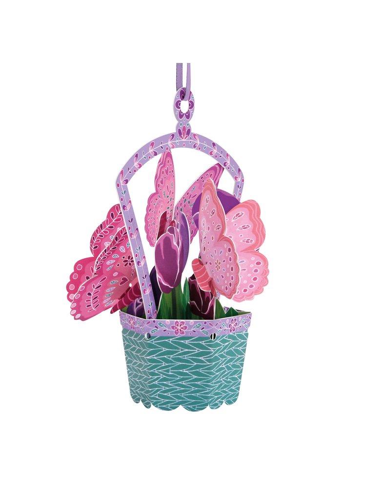 Santoro papírová závěsná dekorace Butterfly Basket Tulips