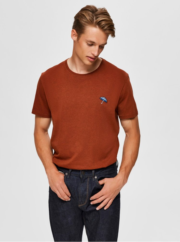 Hnědé tričko Selected Homme Astor