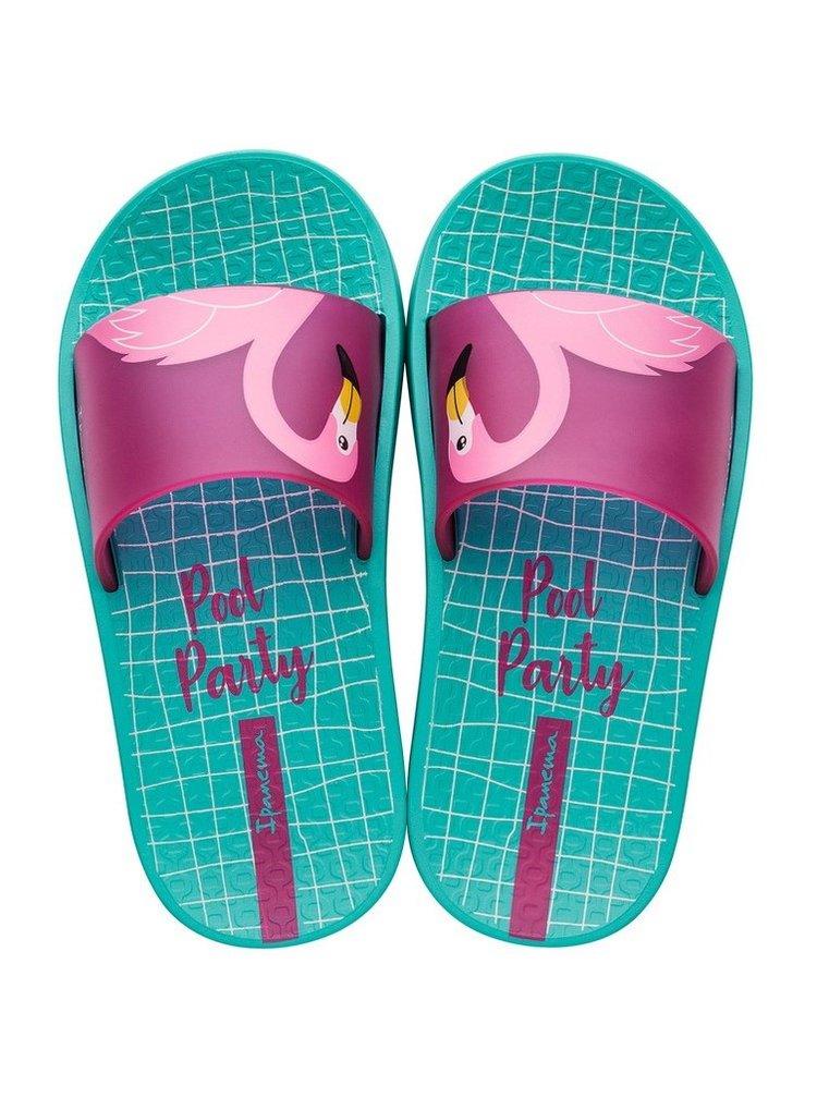 Ipanema tyrkysové dívčí pantofle Urban Slide Kids Green/Pink