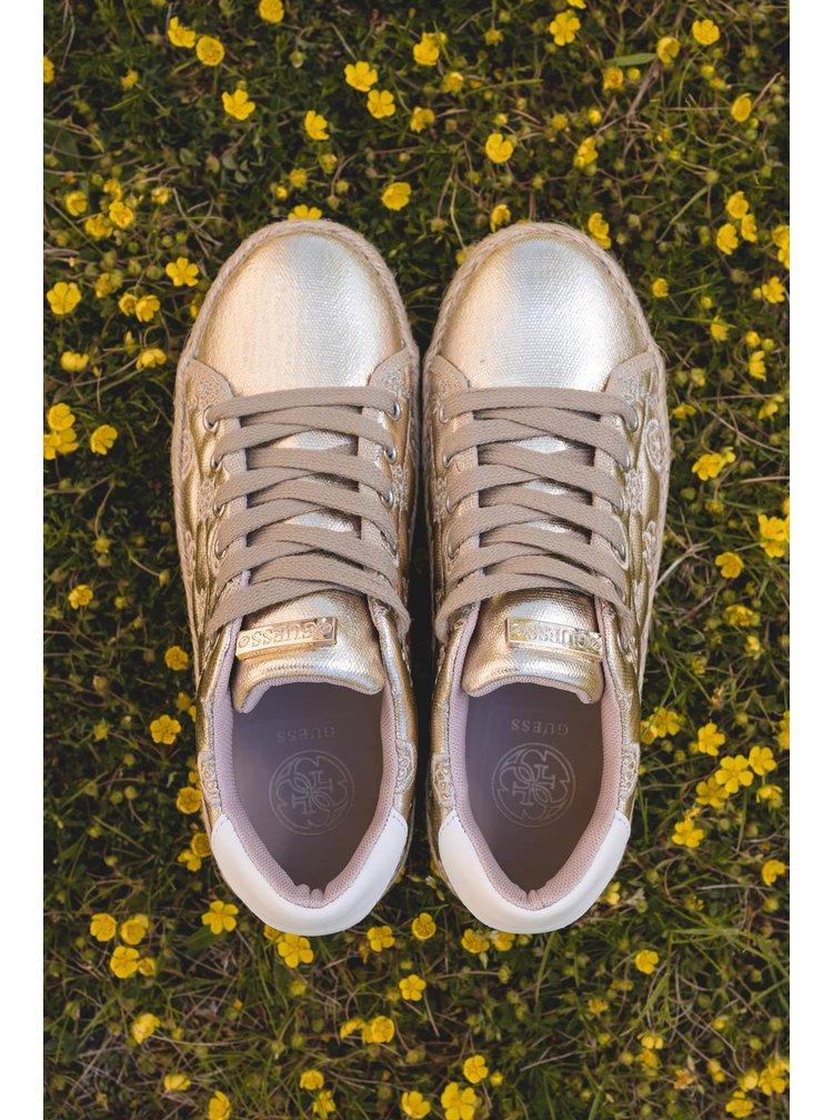 Guess zlaté jutové tenisky na platformě