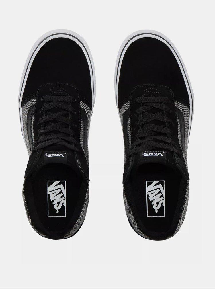 Černo-šedé dámské tenisky s koženými detaily VANS