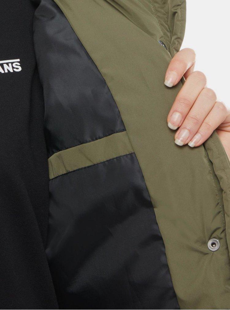 Khaki dámský prošívaný kabát VANS