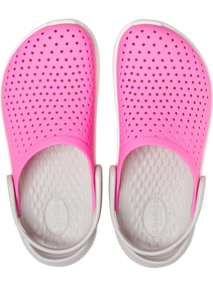 Crocs růžové dívčí boty LiteRide Clog Electric Pink/White