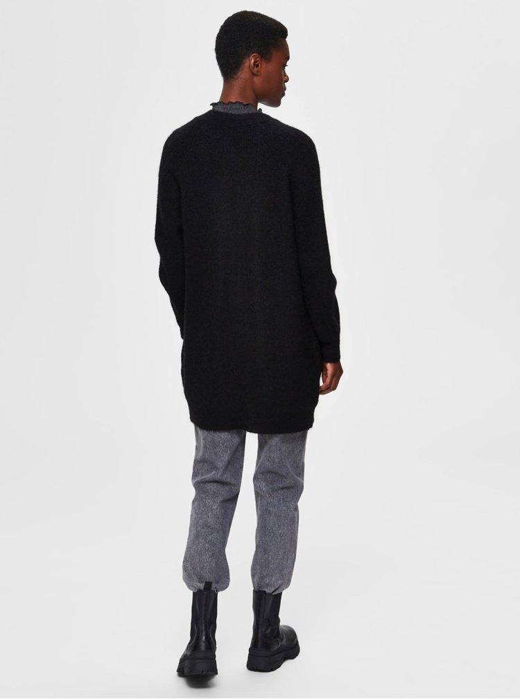 Černý vlněný kardigan Selected Femme Lulu