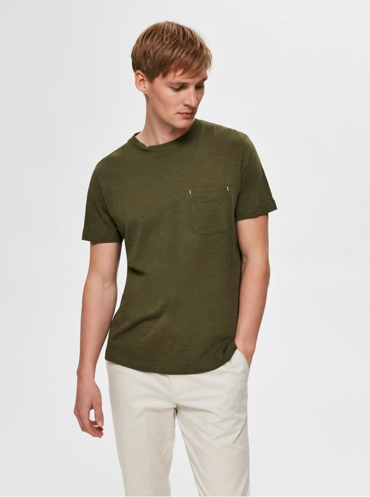 Khaki tričko Selected Homme Jared