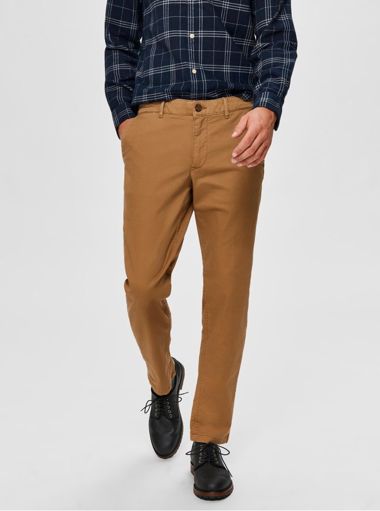 Hnědé chino kalhoty Selected Homme New Paris