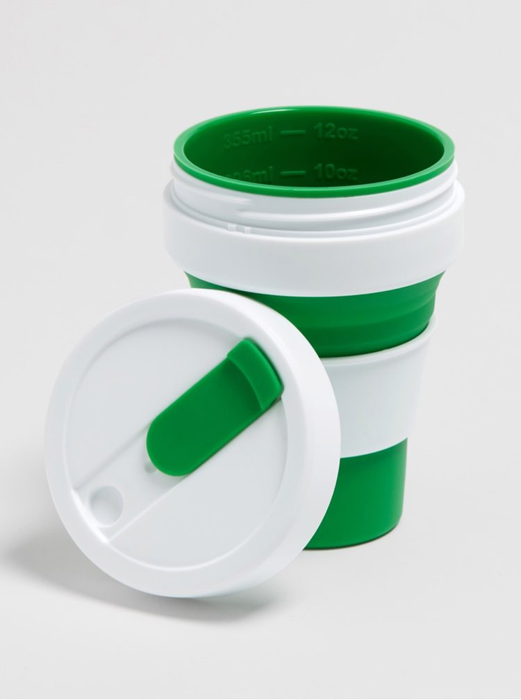 Bílo-zelený cestovní skládací hrnek Stojo Pocket 355 ml
