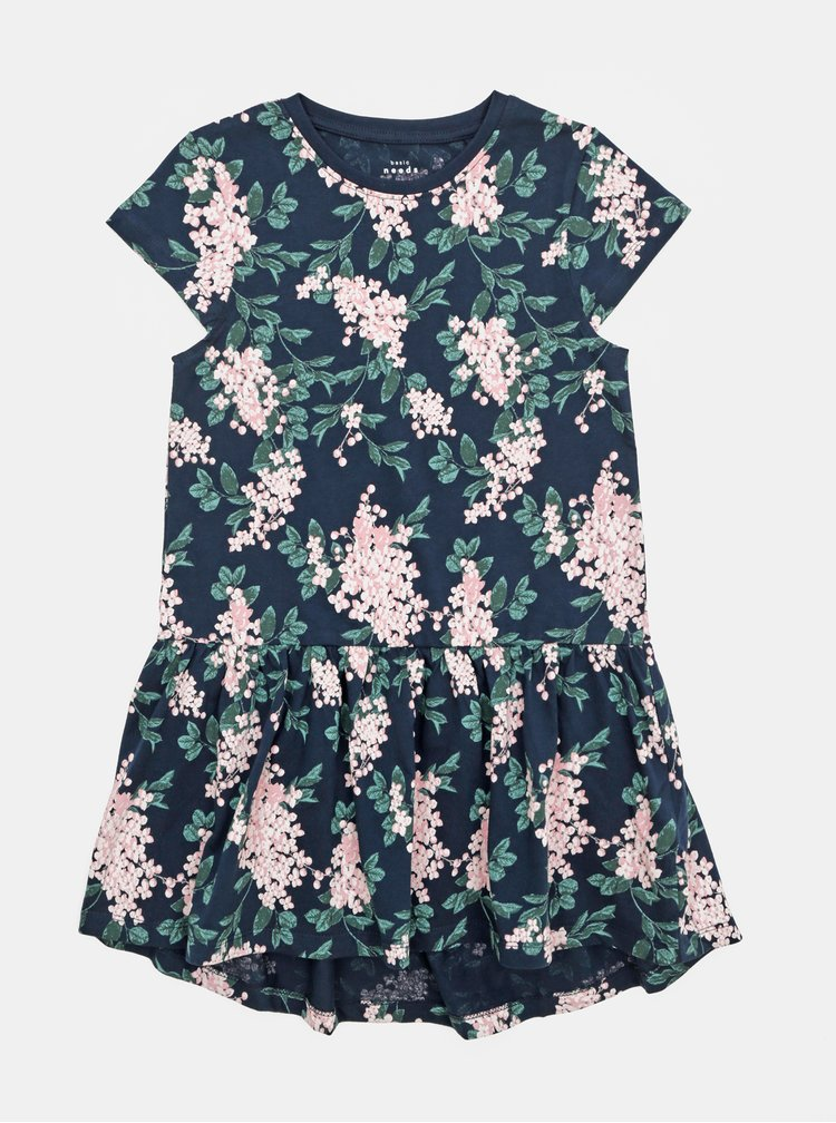 Růžovo-modré květované holčičí šaty name it Vigga
