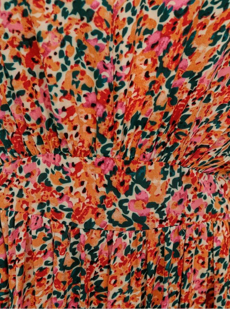 Růžovo-oranžové květované maxišaty ONLY Nova
