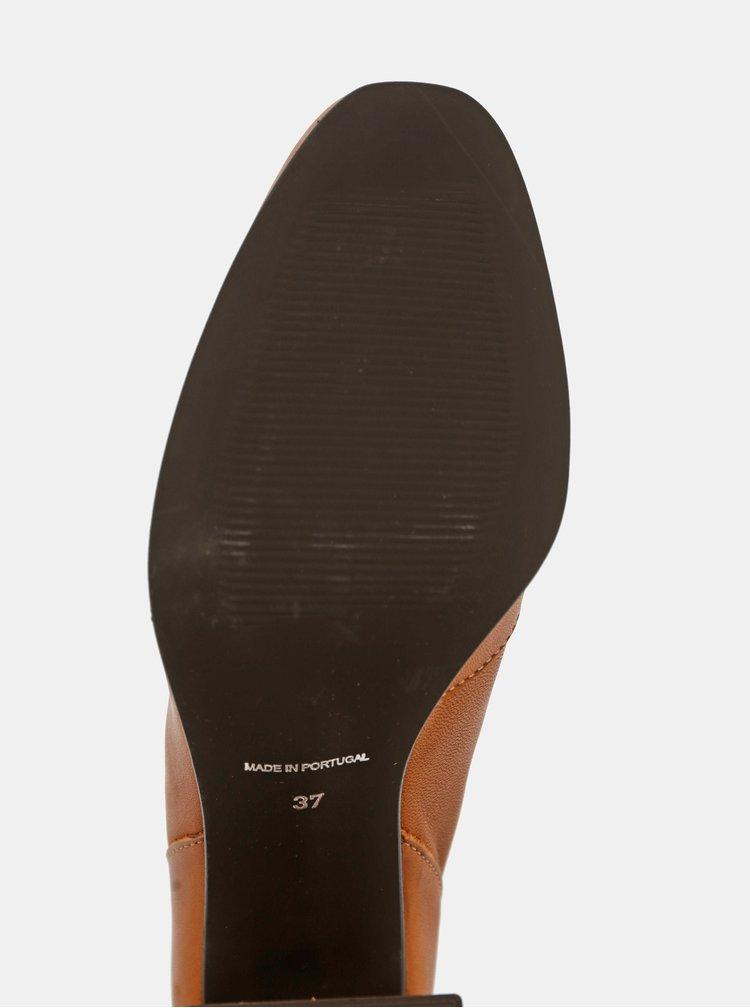 Hnědé kožené kotníkové boty VERO MODA Cilla