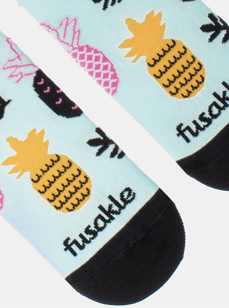 Světle modré vzorované kotníkové ponožky Fusakle Ananista