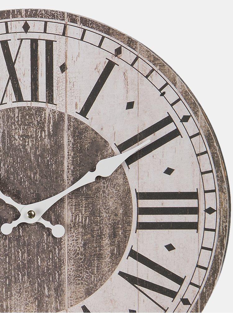 Hnědo-bílé nástěnné hodiny Clayre & Eef