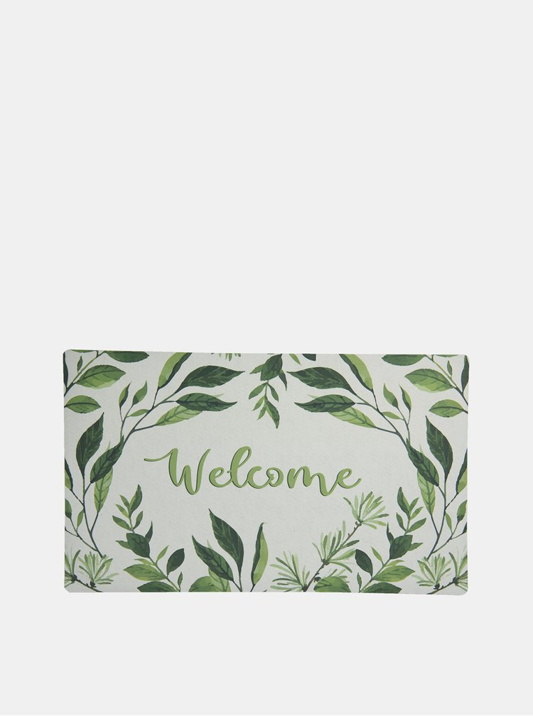 Zeleno-bílá vzorovaná rohožka Clayre & Eef