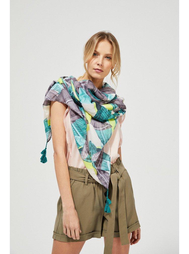 Moodo vzorovaný šátek s tyrkysovými střapci