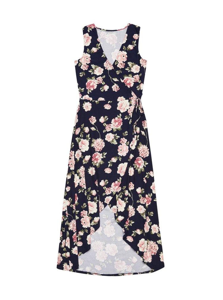 Moodo tmavě modré zavinovací šaty s květy