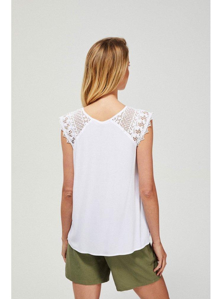 Moodo bílé tričko s krajkovými rukávy