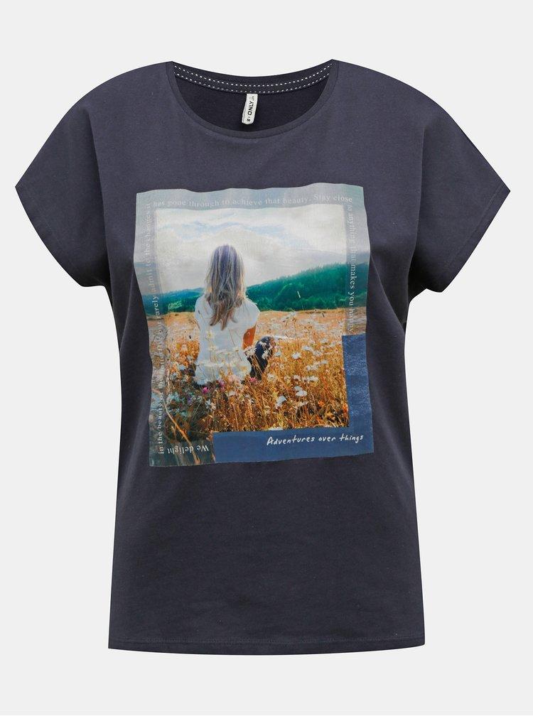 Tmavě modré tričko s potiskem ONLY Maya