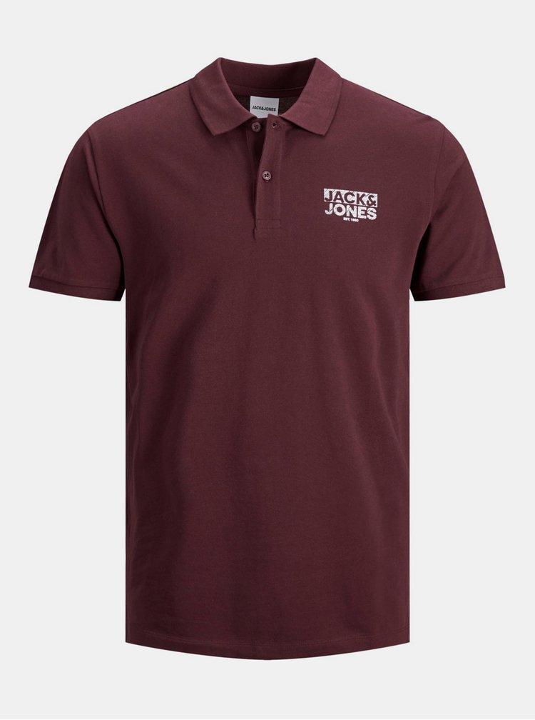 Vínové polo tričko Jack & Jones Hero