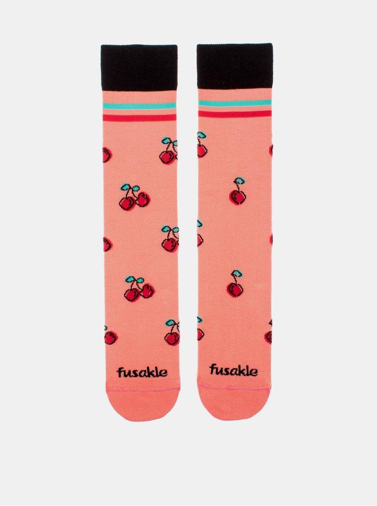 Růžové vzorované ponožky Fusakle Třešeň