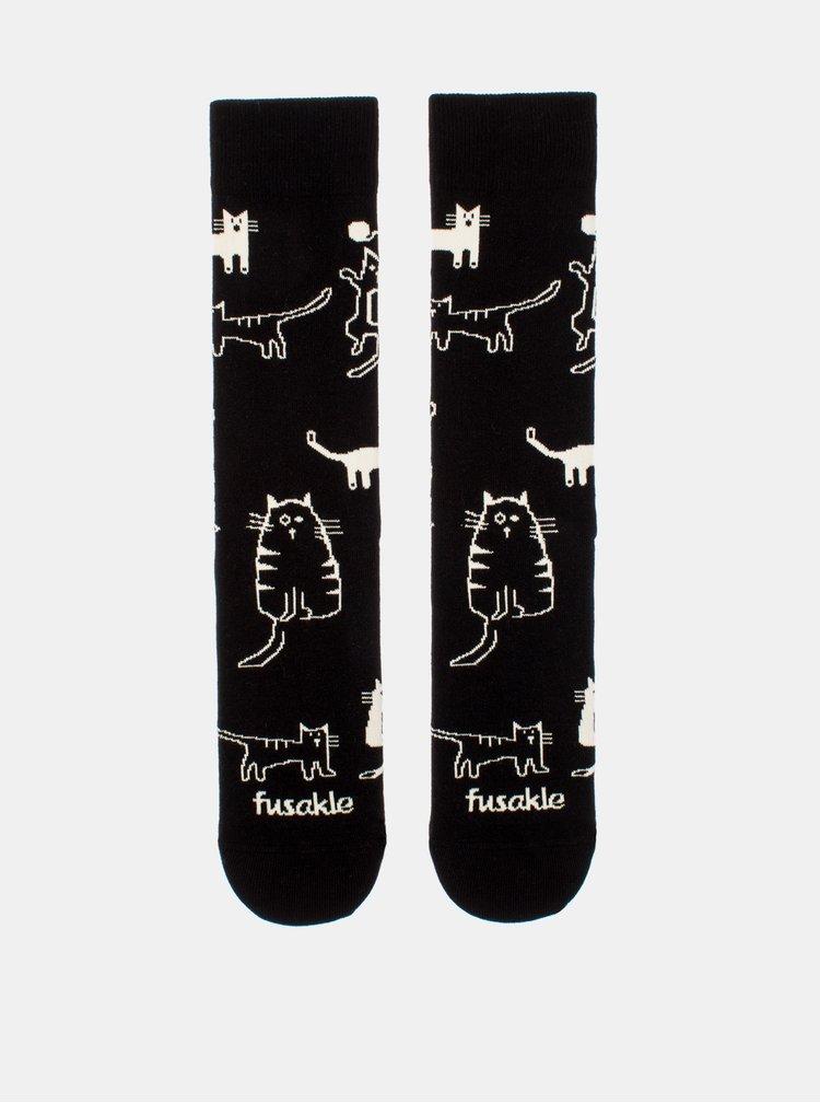 Černé vzorované ponožky Fusakle Čauky Mňauky