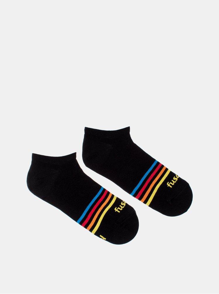 Černé pruhované kotníkové ponožky Fusakle