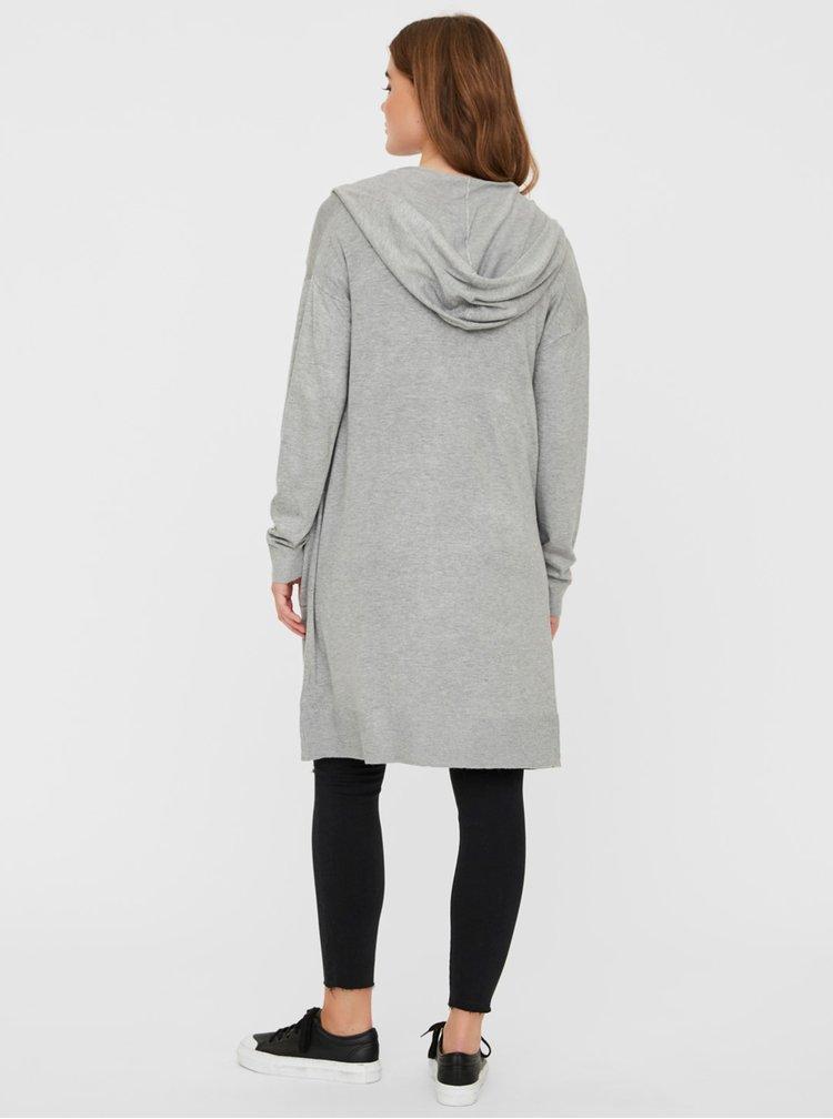 Světle šedý dlouhý kardigan s kapucí Noisy May