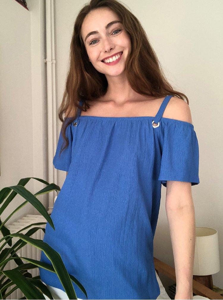 Modrá halenka s odhalenými rameny Trendyol