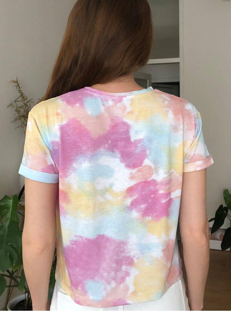 Modro-růžové vzorované tričko Trendyol