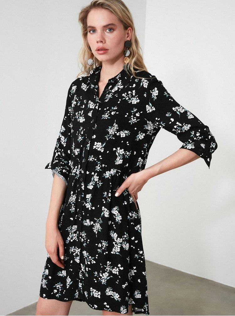 Černé květované košilové šaty Trendyol