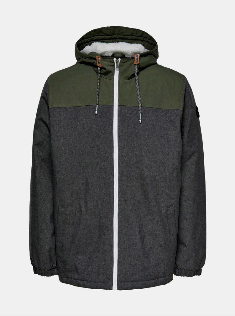 Jachete de iarna pentru barbati ONLY & SONS - gri inchis