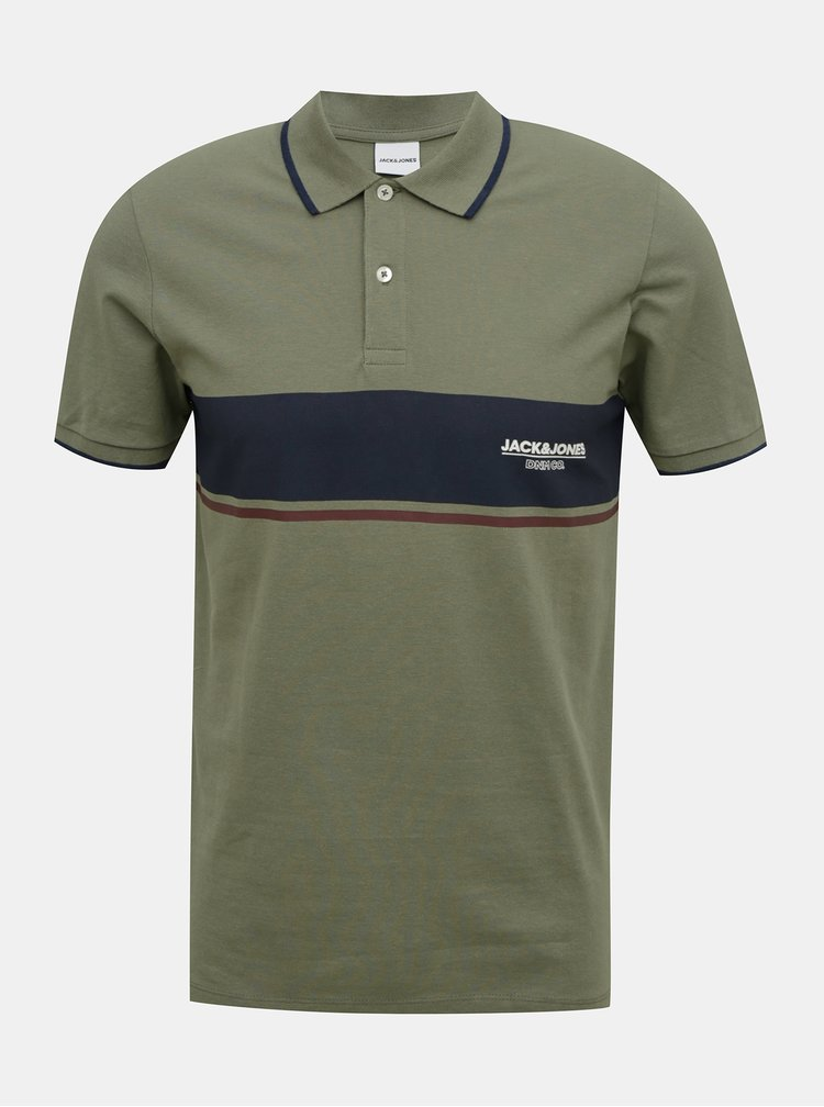 Khaki polo tričko Jack & Jones Shaker