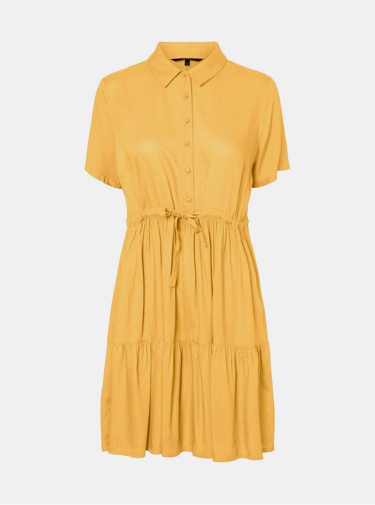 Žluté košilové šaty VERO MODA Dolca