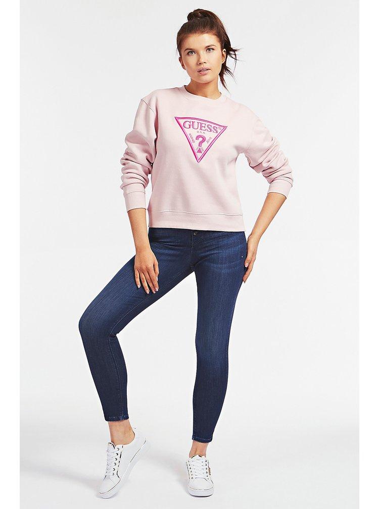 Guess růžová mikina Embroidery Triangle Logo s logem