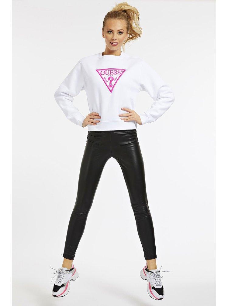Guess bílá mikina Embroidery Triangle Logo s logem
