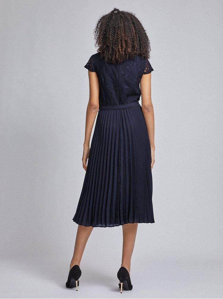 Tmavě modré plisované šaty s krajkovým topem Dorothy Perkins