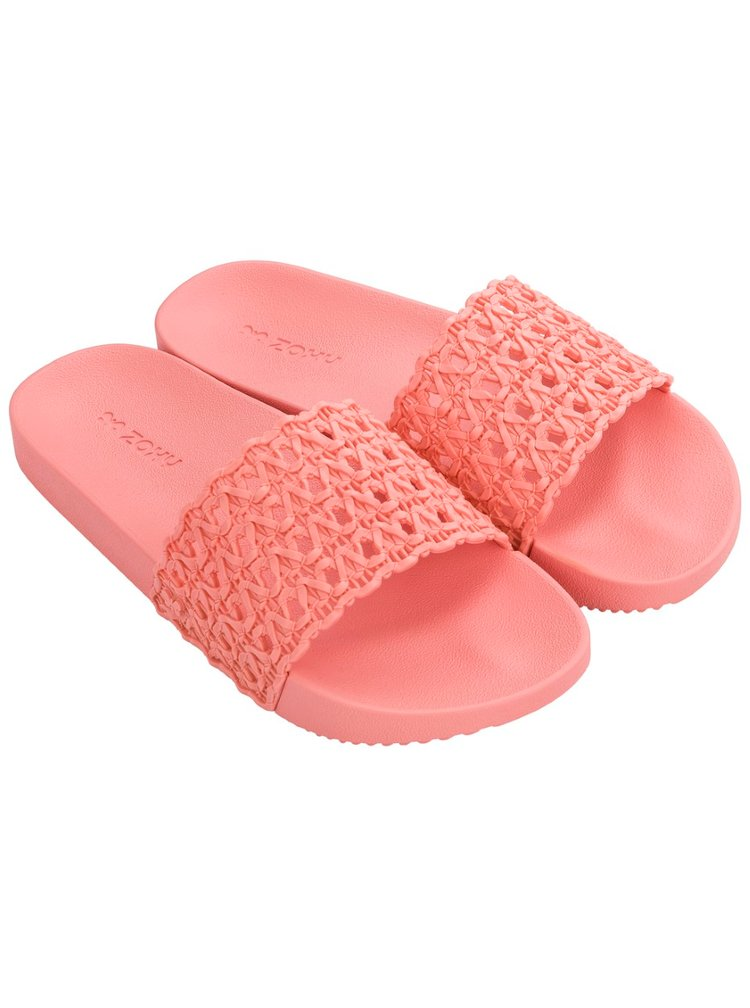 Zaxy růžové pantofle Snap Mesh Slide Fem Pink