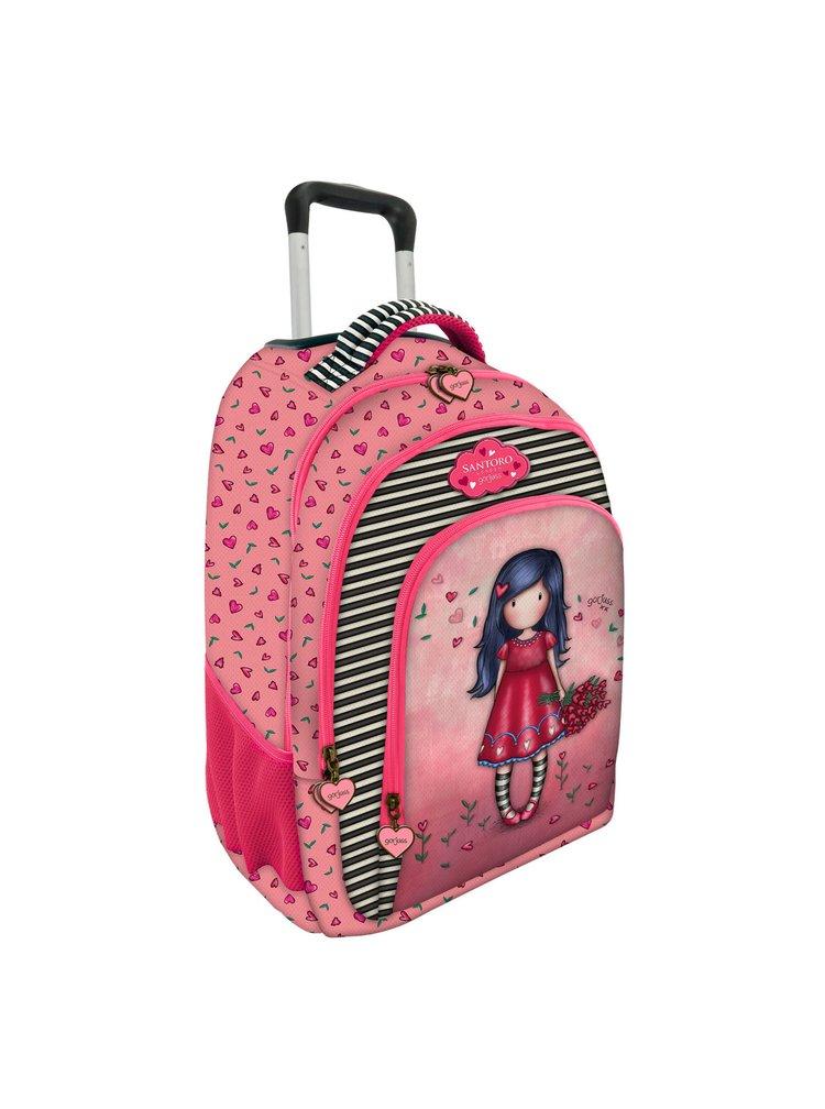 Santoro červený batoh na kolečkách Gorjuss Love Grows