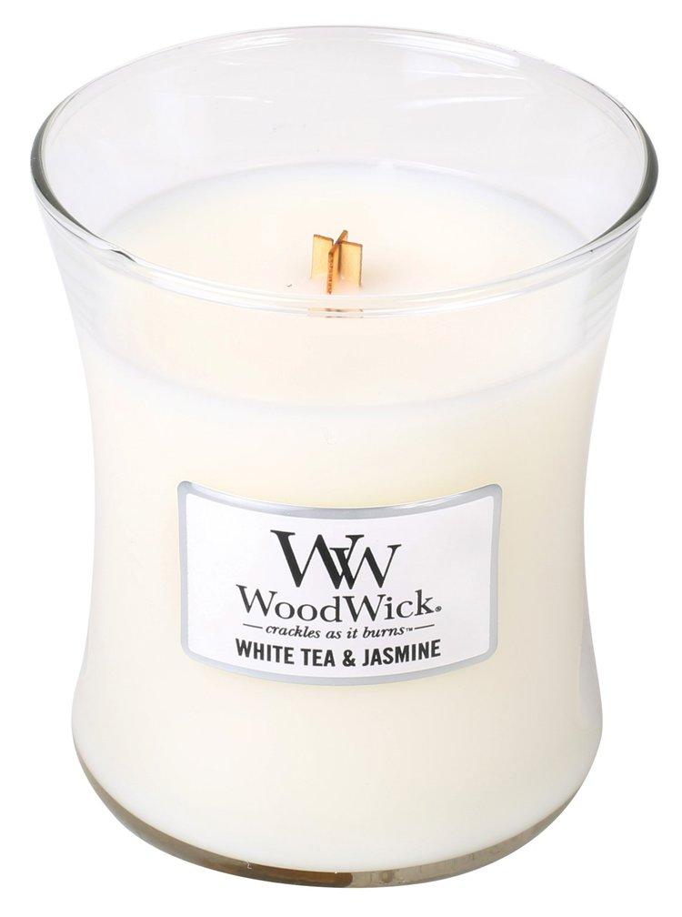 WoodWick vonná svíčka White Tea&Jasmine střední váza