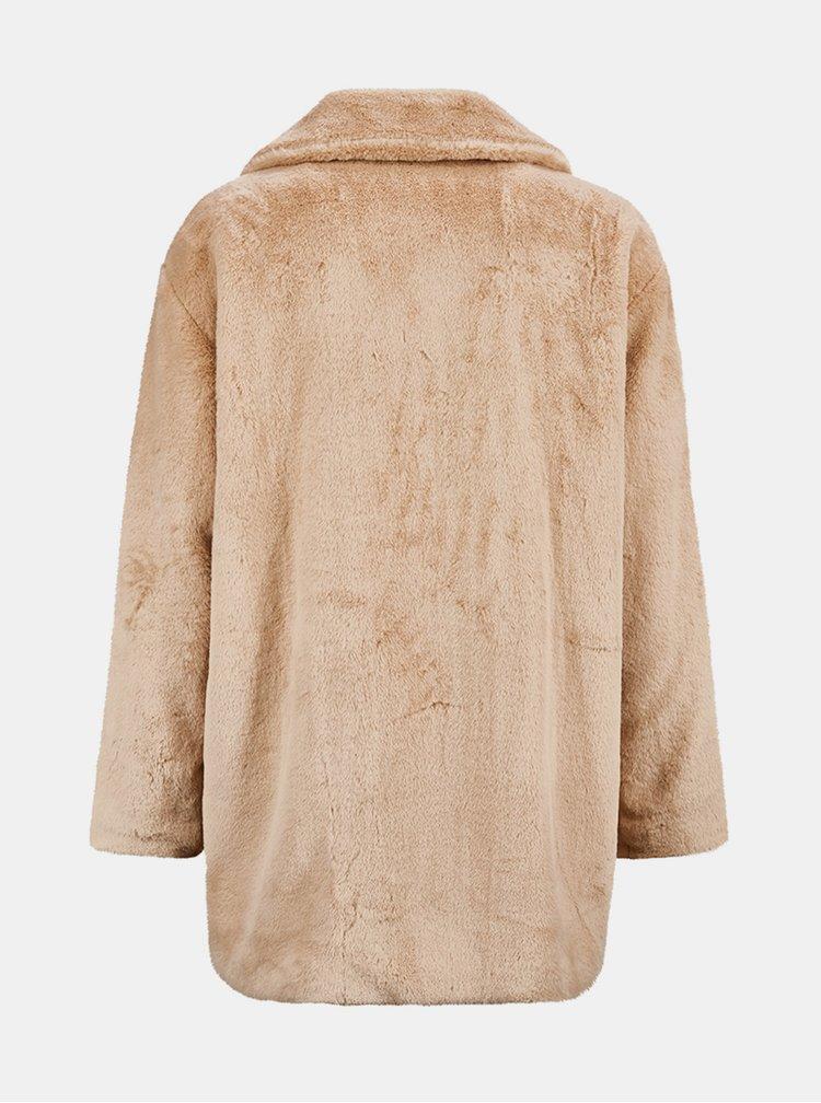 Béžový kabát z umělého kožíšku killtec