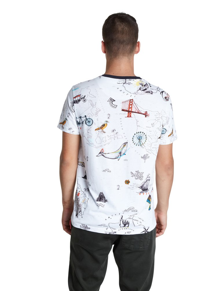 Desigual bílé pánské tričko TS Victor
