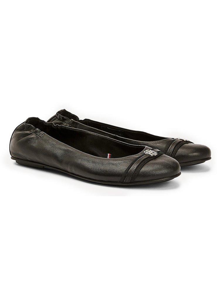Tommy Hilfiger černé baleríny Block Branding Ballerina Black