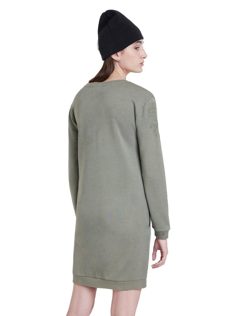Desigual khaki mikinové šaty Vest Bukit